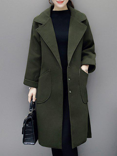 Lapel Duster Walker Coat with Pocket - ARMY GREEN M