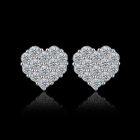 Heart Rhinestoned Stud Earrings - SILVER