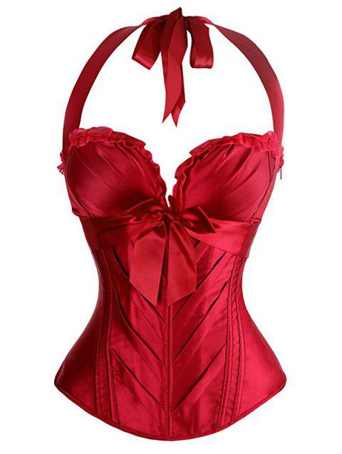 b06a88a83e 41% OFF  2019 Halter Bowknot Embellished Lace Up Corset Bra In RED M ...