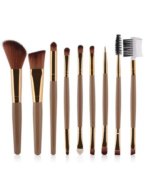 9 Pcs Multifunction Facial Makeup Brushes Set - CHAMPAGNE GOLD