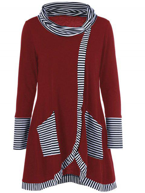 Long Sleeve Plus Size Striped Trim Overlap T-Shirt - BURGUNDY 2XL