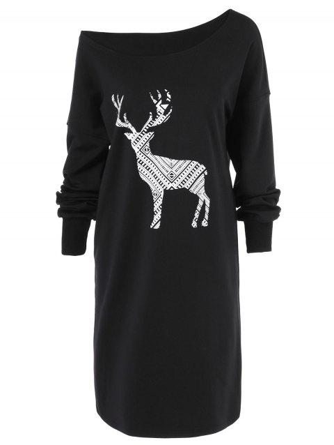 Skew Neck Pullover Sweatshirt With ELK Patterned - BLACK L