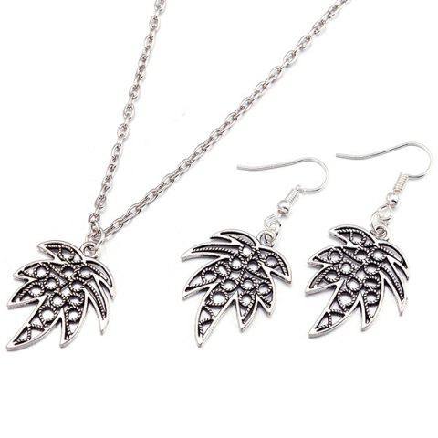 Leaf Necklace and Earrings - SILVER