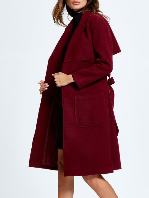 Side Slit Lapel Collar Patched Coat - WINE RED S