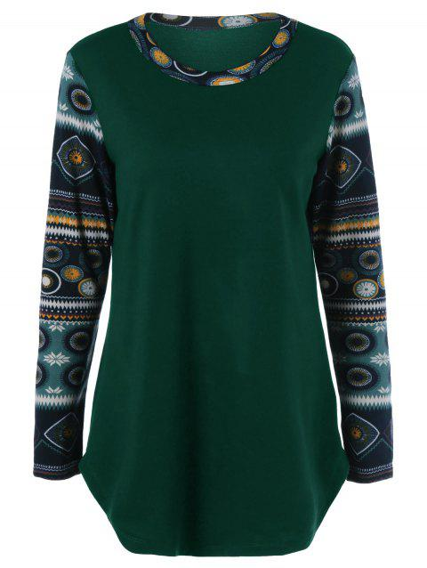 Printed Curved Hem Longline T-Shirt - GREEN L