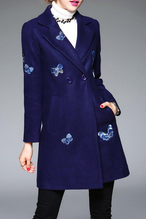 Embroidered Butterfly Wool Coat - DEEP BLUE S