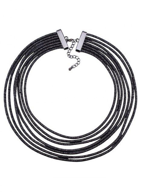 Layered Artificial Leather Rope Choker Necklace - BLACK