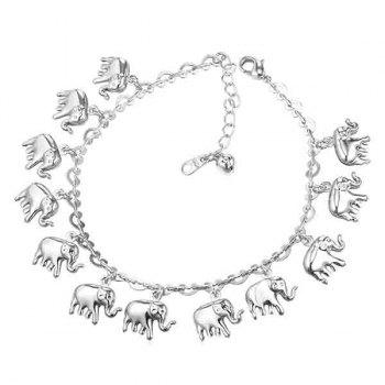 Elephant Tassel Charm Anklet - SILVER SILVER