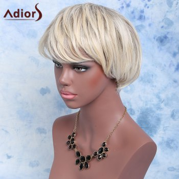 Adiors Short Color Mixed Synthetic Inclined Bang Straight Wig - COLORMIX