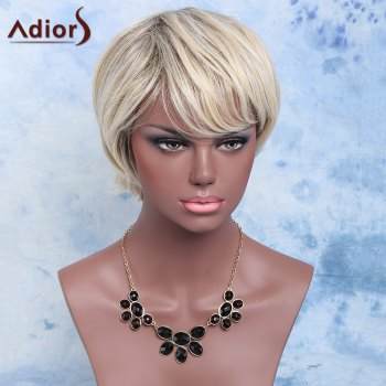 Adiors Short Color Mixed Synthetic Inclined Bang Straight Wig