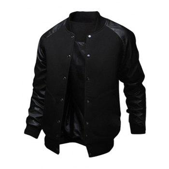 Raglan Sleeve Snap Button Up PU Leather Insert Jacket