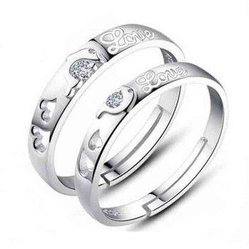 Pair of Chic Rhinestone Dolphin Heart Ring For Lovers