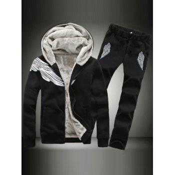 Flocking Wing Graphic Hoodie and Casual Pants Twinset