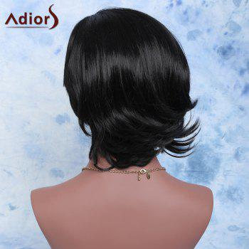 Adiors Fluffy Short Slightly Curled Side Parting Synthetic Wig - BLACK