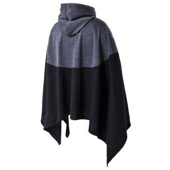 Hooded Color Block Splicing Cape Irregular Style de coupe Hoodie