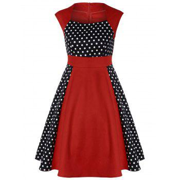 Polka Dot Panel Vintage Dress - RED L