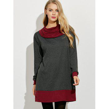 Cowl Neck Color Block Mini Dress - L L
