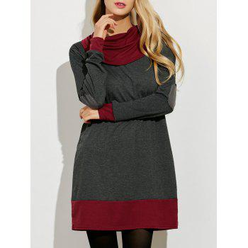 Cowl Neck Color Block Mini Dress - GRAY AND RED GRAY/RED