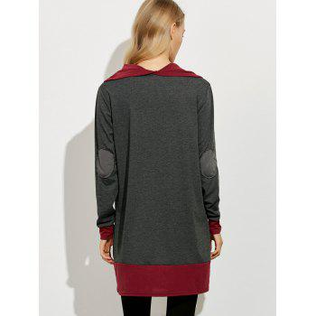 Cowl Neck Color Block Mini Dress - GRAY/RED GRAY/RED