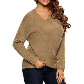 Chunky Cross Wrap Plunging Neck Pullover Sweater - KHAKI S