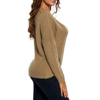 Chunky Cross Wrap Plunging Neck Pullover Sweater - S S