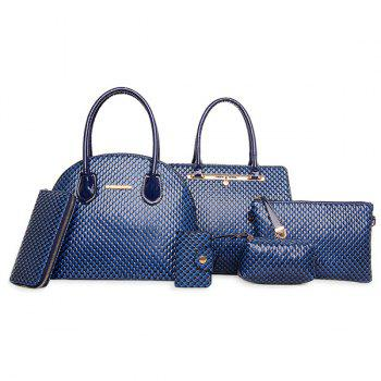 Faux Leather Embossed Tote 6 Piece Set