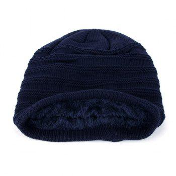 Label Horizontal Stripe Knitted Ski Hat - CADETBLUE