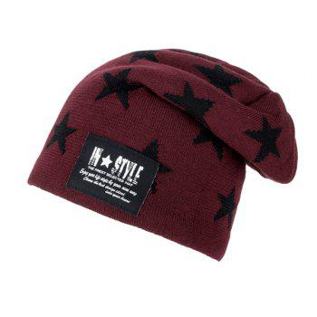 Five Pointed Star Pattern Letter Patch Knit Ski Hat