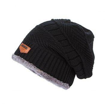 Flocking Label Knit Ski Hat