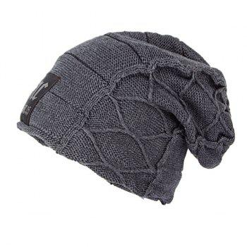 Flocking Letter Patch Knitted Slouchy Beanie