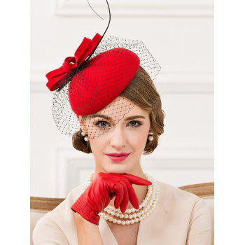 Bowknot Feather Mesh Cocktail Hat