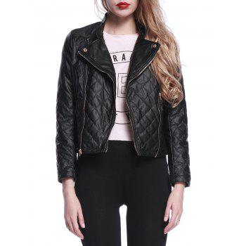 Faux Leather Diamond Biker Jacket