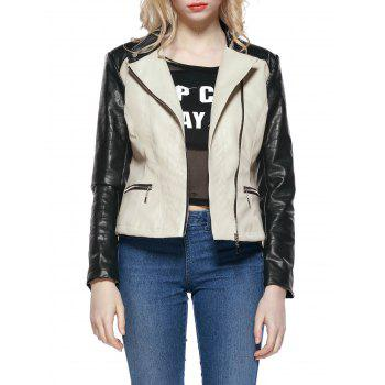 Faux Leather Colorblock Biker Jacket