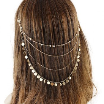 Layered Discs Tassel Head Chain