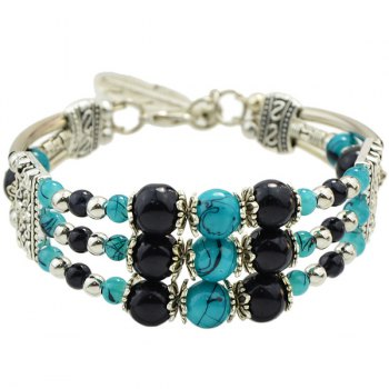 Faux Gem Beads Layered Strand Bracelet