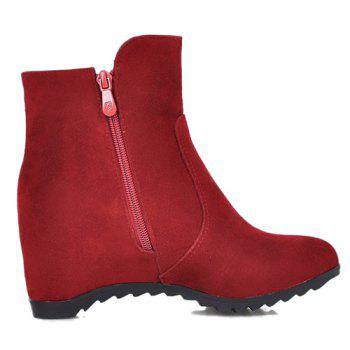 Hidden Wedge Suede Ankle Boots - RED RED