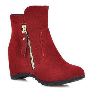 Hidden Wedge Suede Ankle Boots - RED 37