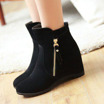 Hidden Wedge Suede Ankle Boots - BLACK BLACK