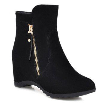 Hidden Wedge Suede Ankle Boots - BLACK 38