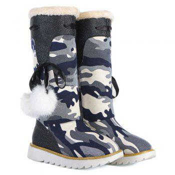 Canvas Insert Camouflage Pattern Snow Boots - BLACK BLACK
