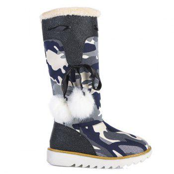 Canvas Insert Camouflage Pattern Snow Boots - BLACK 39