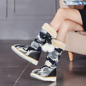 Canvas Insert Camouflage Pattern Snow Boots - 39 39