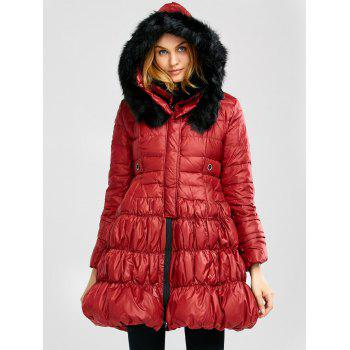 Long Skirted Down Coat With Fur Hood