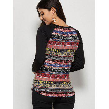 Raglan Sleeve Tribal T-Shirt - COLORMIX L