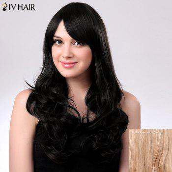 Inclined Bang Long Fluffy Natural Wavy Siv Human Hair Wig
