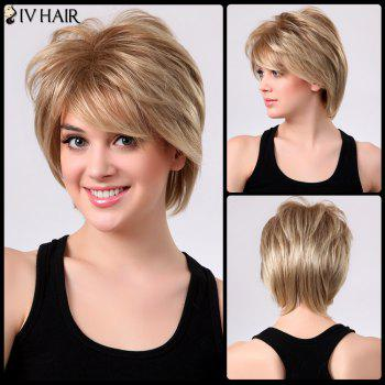 Shaggy Short Layered Side Bang Straight Siv Human Hair Wig - 18/613#  /