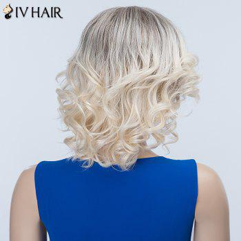 Curly Oblique Bang Long Fluffy Siv Human Hair Wig - BLONDE