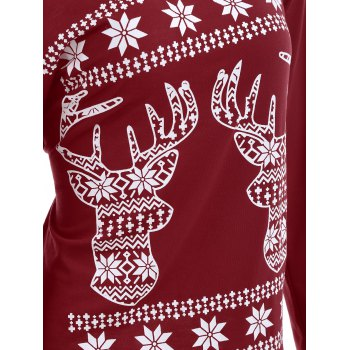 Christmas Fawn Printed Skew Neck T-Shirt - DEEP RED XL