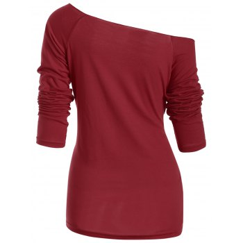 Christmas Fawn Printed Skew Neck T-Shirt - DEEP RED M