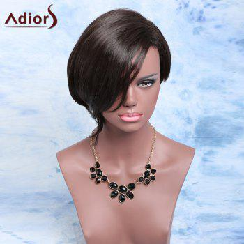 Adiors Asymmetric Short Fluffy Side Parting Bob Synthetic Wig